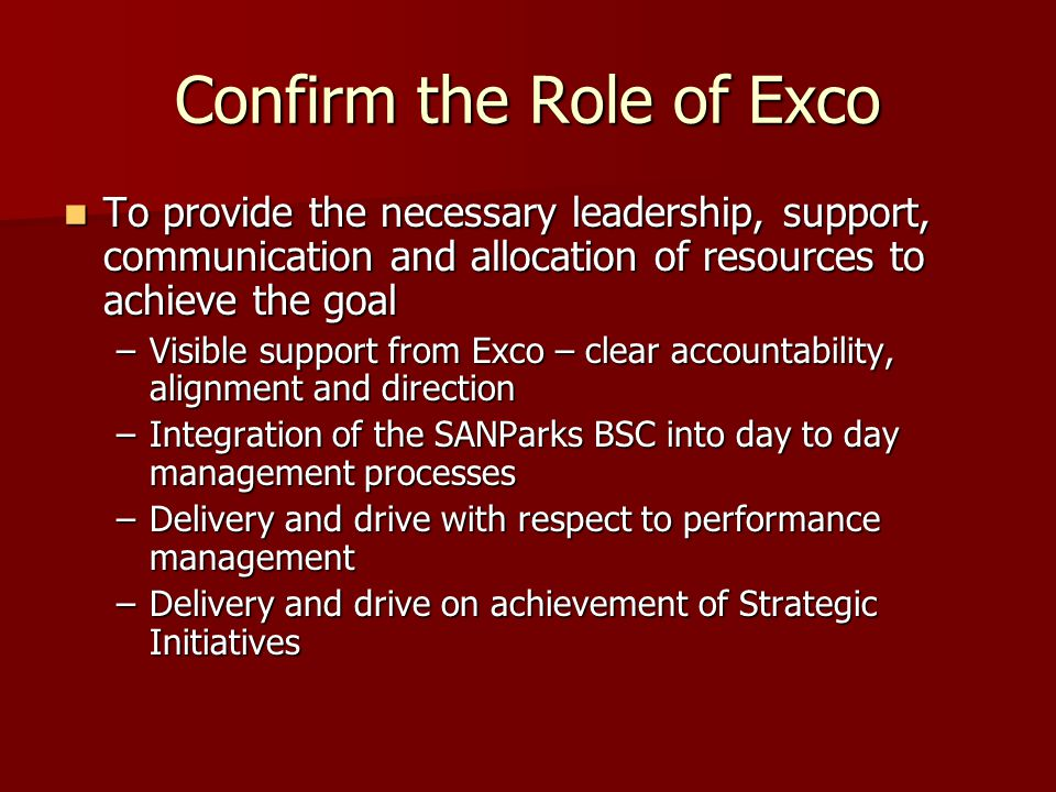 Confirm the Role of Exco To provide the necessary leadership, support, communication and allocation of resources to achieve the goal To provide the necessary leadership, support, communication and allocation of resources to achieve the goal –Visible support from Exco – clear accountability, alignment and direction –Integration of the SANParks BSC into day to day management processes –Delivery and drive with respect to performance management –Delivery and drive on achievement of Strategic Initiatives