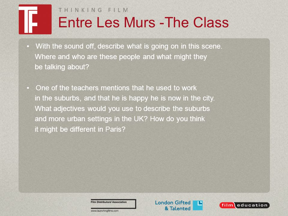 Entre Les Murs -The Class With the sound off, describe what is going on in this scene. Where and who are these people and what might they be talking a