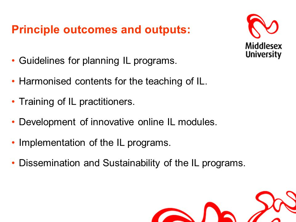 Principle outcomes and outputs: Guidelines for planning IL programs.