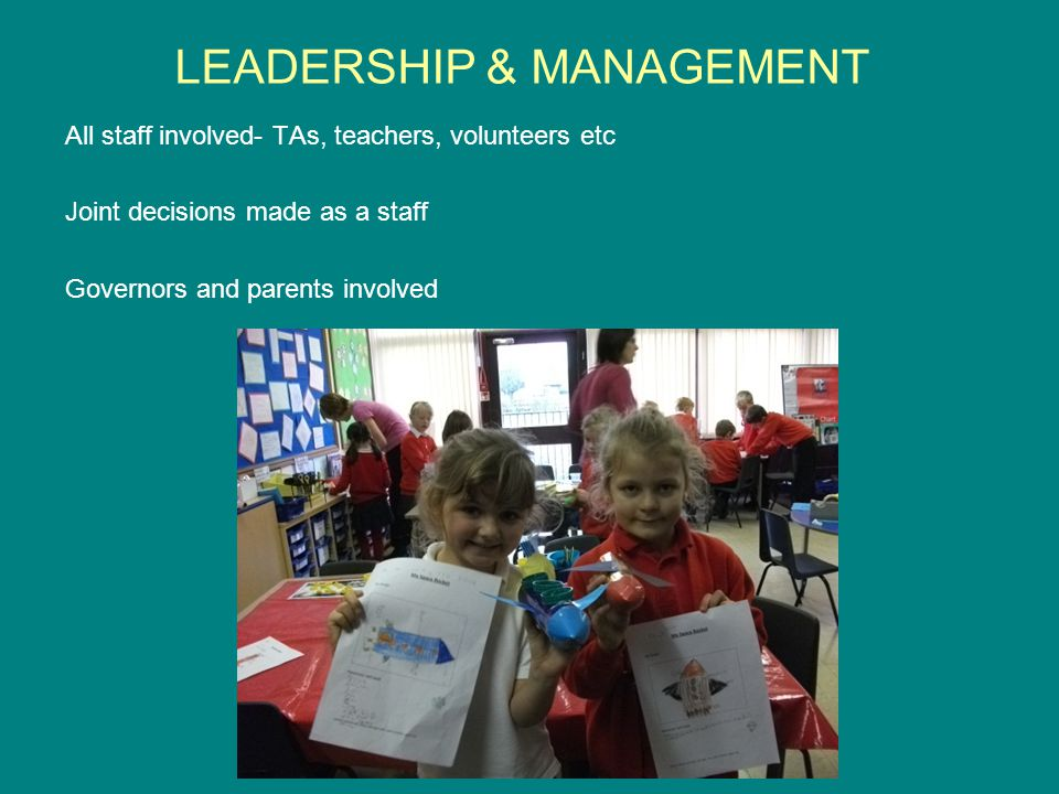 LEADERSHIP & MANAGEMENT All staff involved- TAs, teachers, volunteers etc Joint decisions made as a staff Governors and parents involved