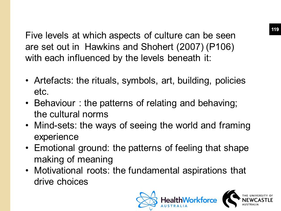 119 Five levels at which aspects of culture can be seen are set out in Hawkins and Shohert (2007) (P106) with each influenced by the levels beneath it