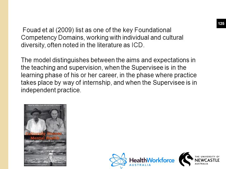 125 Fouad et al (2009) list as one of the key Foundational Competency Domains, working with individual and cultural diversity, often noted in the lite