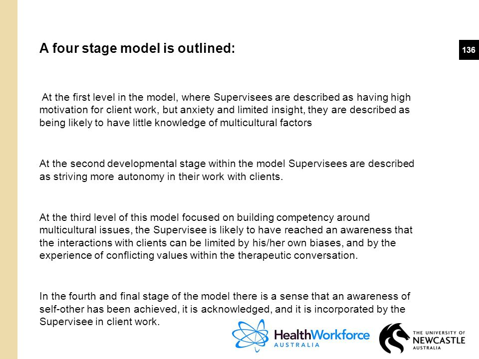 136 A four stage model is outlined: At the first level in the model, where Supervisees are described as having high motivation for client work, but an