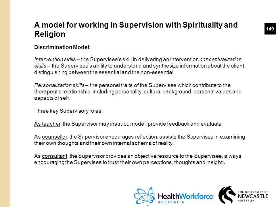 149 A model for working in Supervision with Spirituality and Religion Discrimination Model: Intervention skills – the Supervisee's skill in delivering