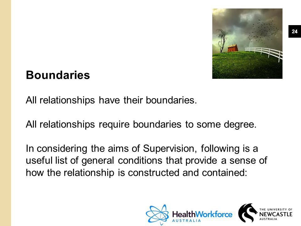 24 Boundaries All relationships have their boundaries. All relationships require boundaries to some degree. In considering the aims of Supervision, fo