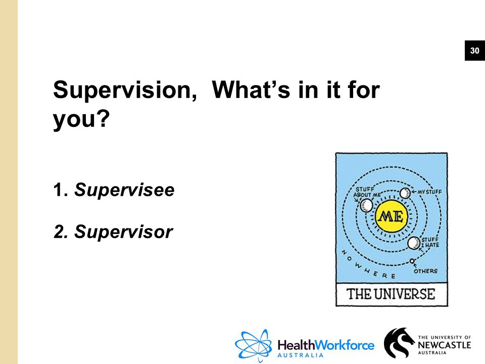 30 Supervision, What's in it for you? 1. Supervisee 2. Supervisor