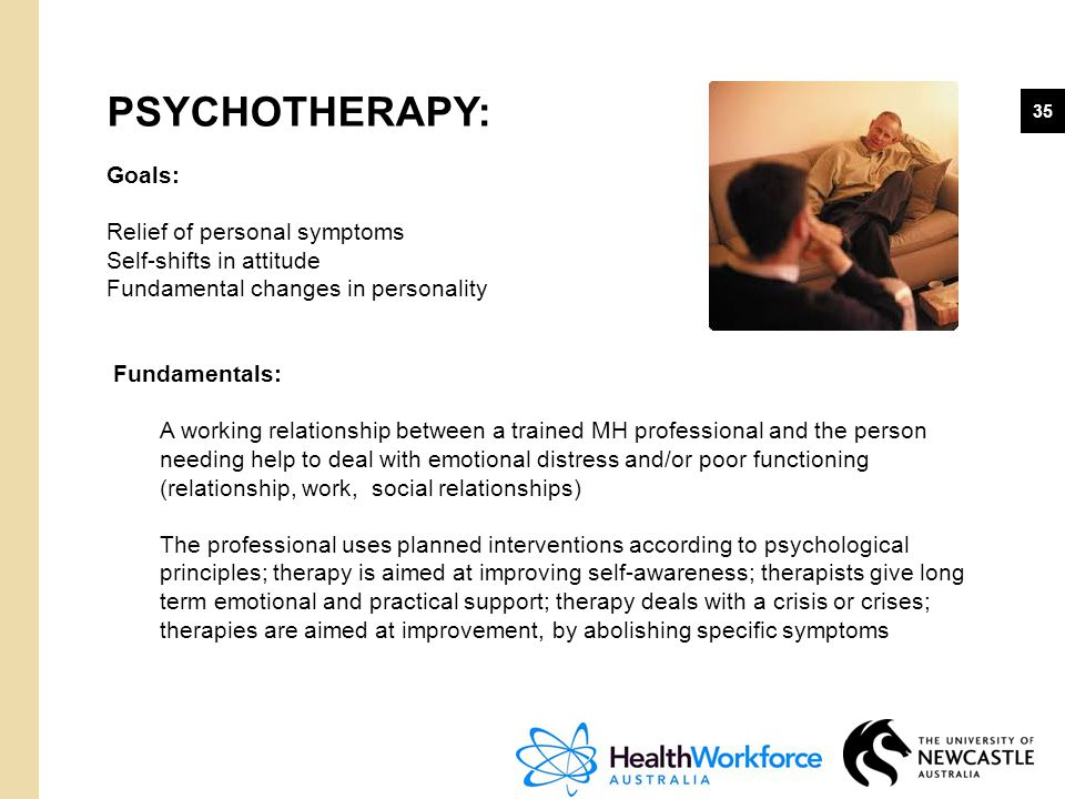 35 PSYCHOTHERAPY: Goals: Relief of personal symptoms Self-shifts in attitude Fundamental changes in personality Fundamentals: A working relationship b
