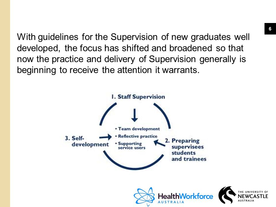 6 With guidelines for the Supervision of new graduates well developed, the focus has shifted and broadened so that now the practice and delivery of Su