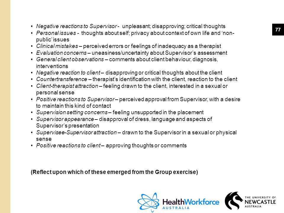 77 Negative reactions to Supervisor - unpleasant; disapproving; critical thoughts Personal issues - thoughts about self; privacy about context of own