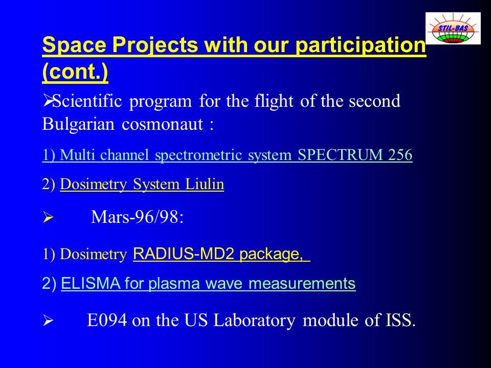  Scientific program for the flight of the second Bulgarian cosmonaut : 1) Multi channel spectrometric system SPECTRUM 256 2) Dosimetry System Liulin  Mars-96/98: 1) Dosimetry RADIUS-MD2 package, 2) ELISMA for plasma wave measurements  E094 on the US Laboratory module of ISS.