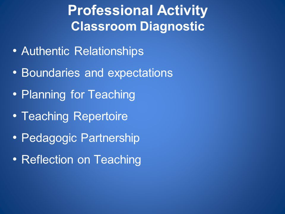Professional Activity Classroom Diagnostic Authentic Relationships Boundaries and expectations Planning for Teaching Teaching Repertoire Pedagogic Par