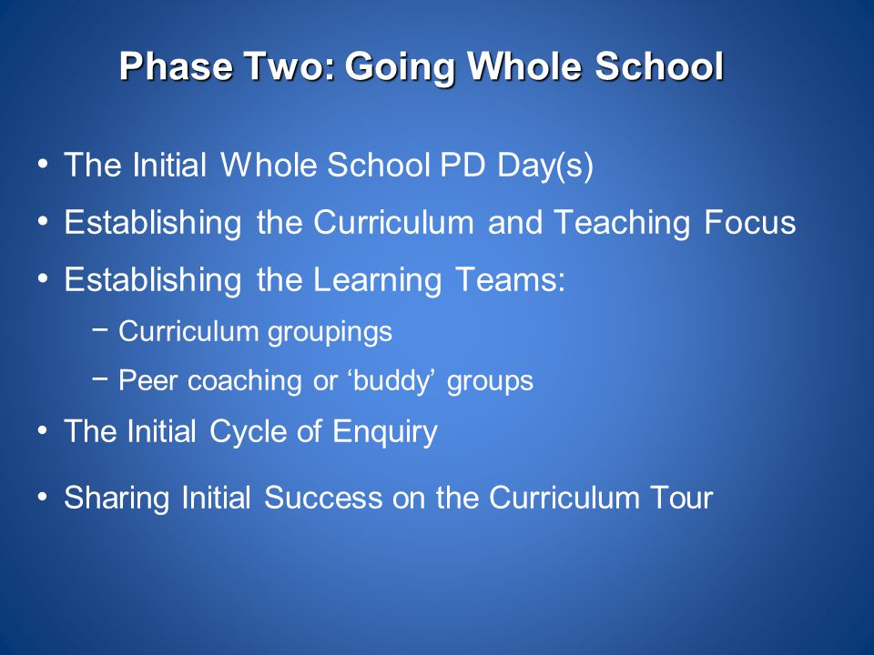 Phase Two: Going Whole School The Initial Whole School PD Day(s) Establishing the Curriculum and Teaching Focus Establishing the Learning Teams: − Cur