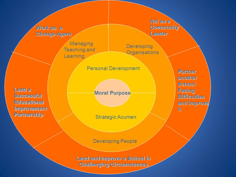 Personal Development Strategic Acumen Managing Teaching and Learning Developing People Developing Organisations Work as a Change Agent Lead a Successf