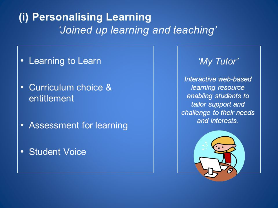 Learning to Learn Curriculum choice & entitlement Assessment for learning Student Voice 'My Tutor' Interactive web-based learning resource enabling st
