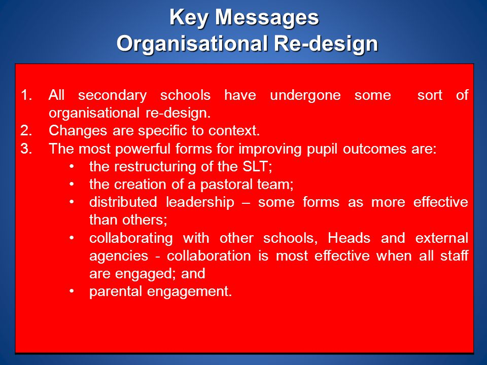 Key Messages Organisational Re-design 1.All secondary schools have undergone some sort of organisational re-design. 2.Changes are specific to context.