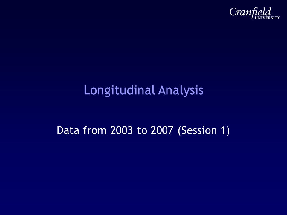 Longitudinal Analysis Data from 2003 to 2007 (Session 1)