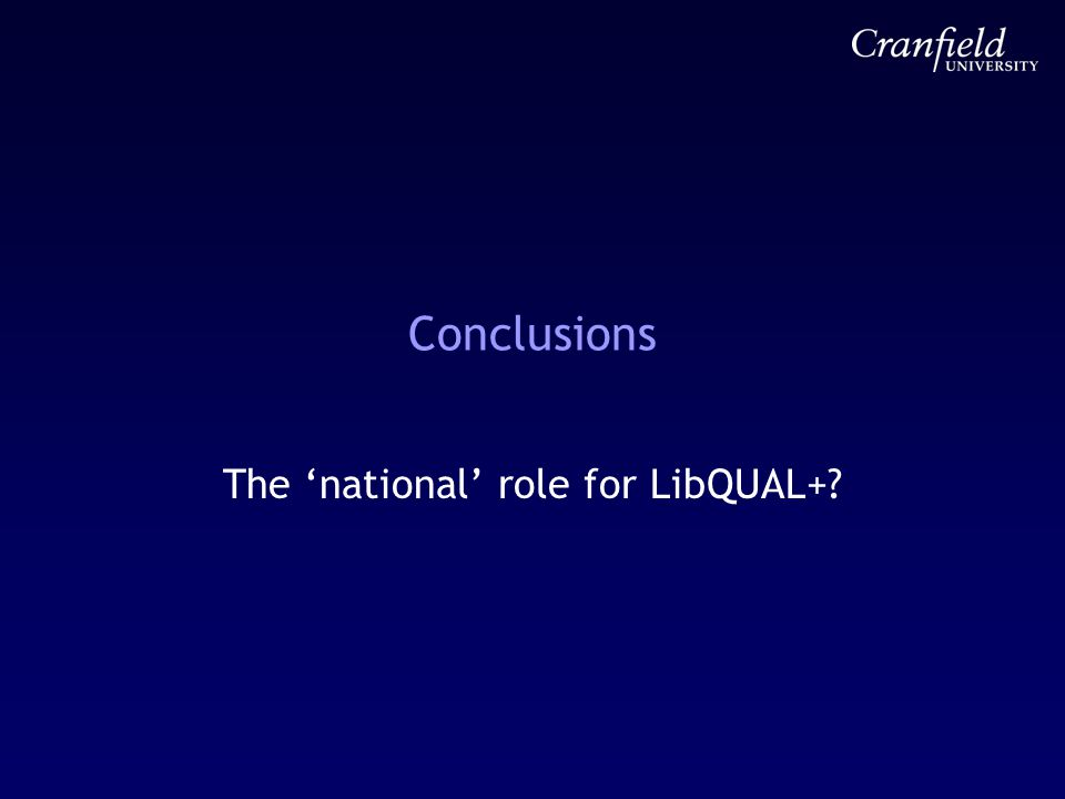 Conclusions The 'national' role for LibQUAL+