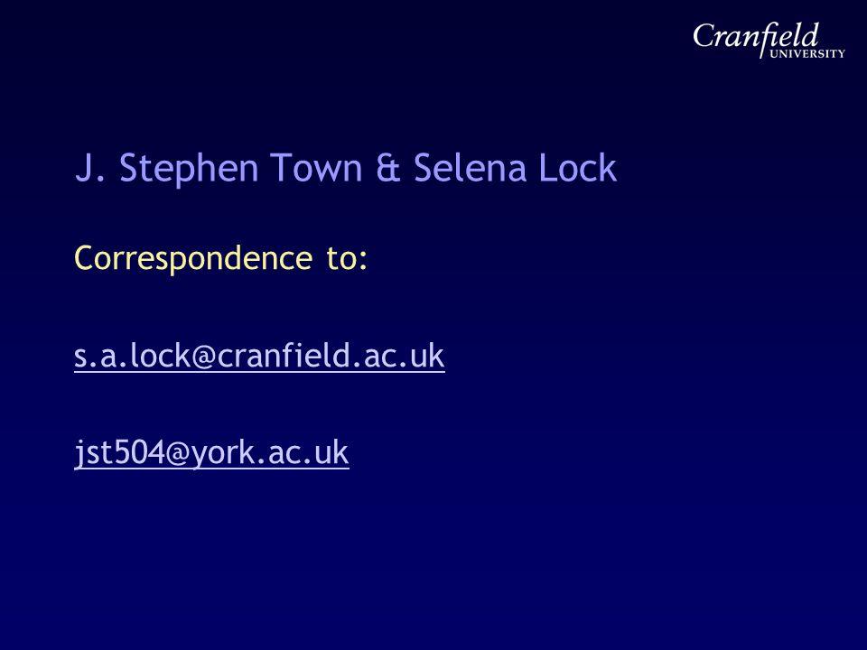 J. Stephen Town & Selena Lock Correspondence to: s.a.lock@cranfield.ac.uk jst504@york.ac.uk
