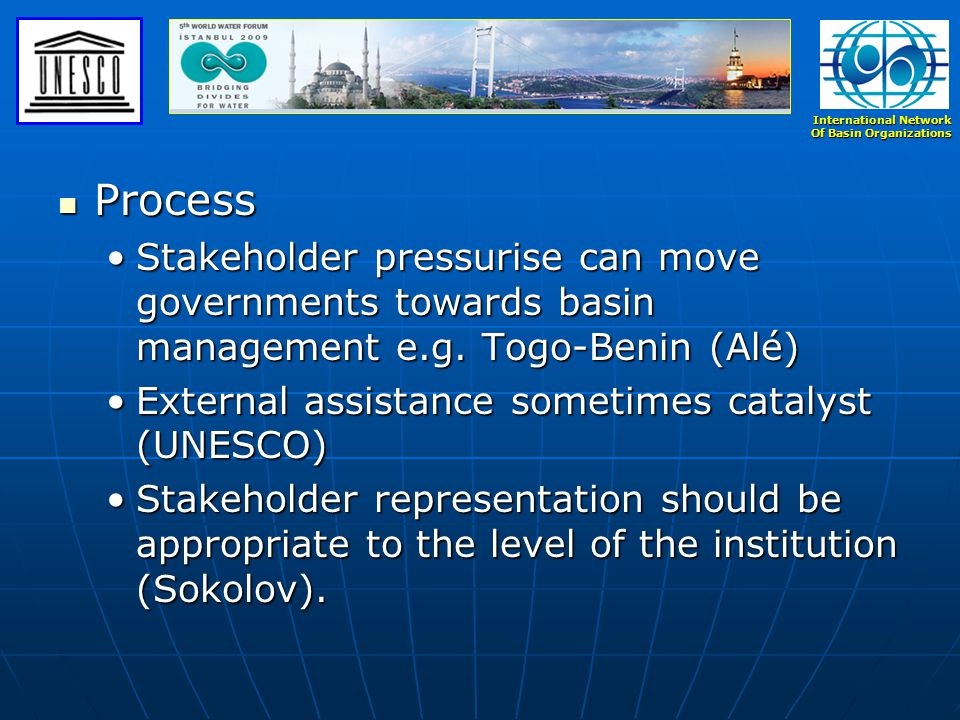 International Network Of Basin Organizations Process Process Stakeholder pressurise can move governments towards basin management e.g.