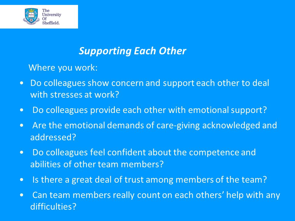 Supporting Each Other Where you work: Do colleagues show concern and support each other to deal with stresses at work.