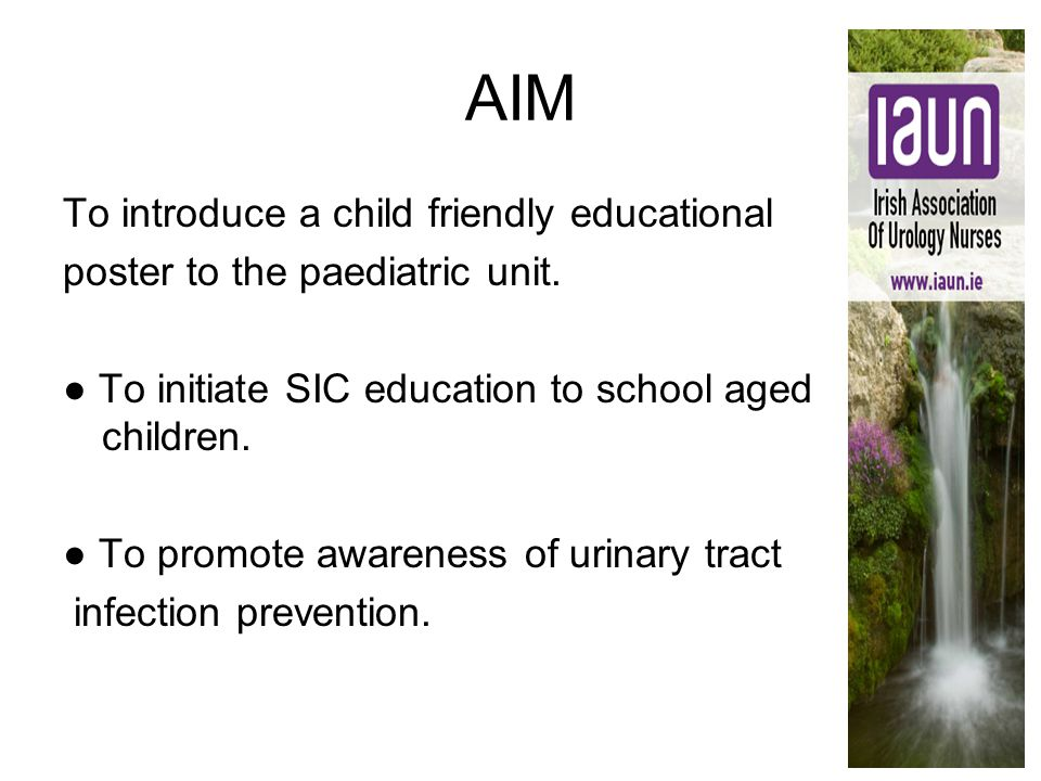 AIM To introduce a child friendly educational poster to the paediatric unit. ● To initiate SIC education to school aged children. ● To promote awarene