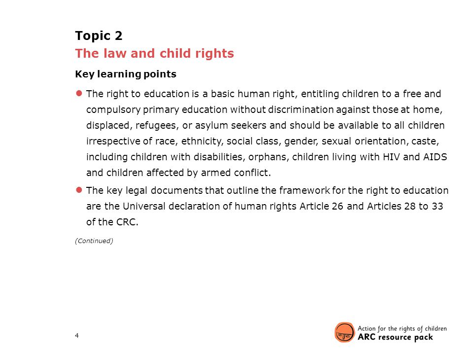 4 Topic 2 The law and child rights Key learning points ● The right to education is a basic human right, entitling children to a free and compulsory pr