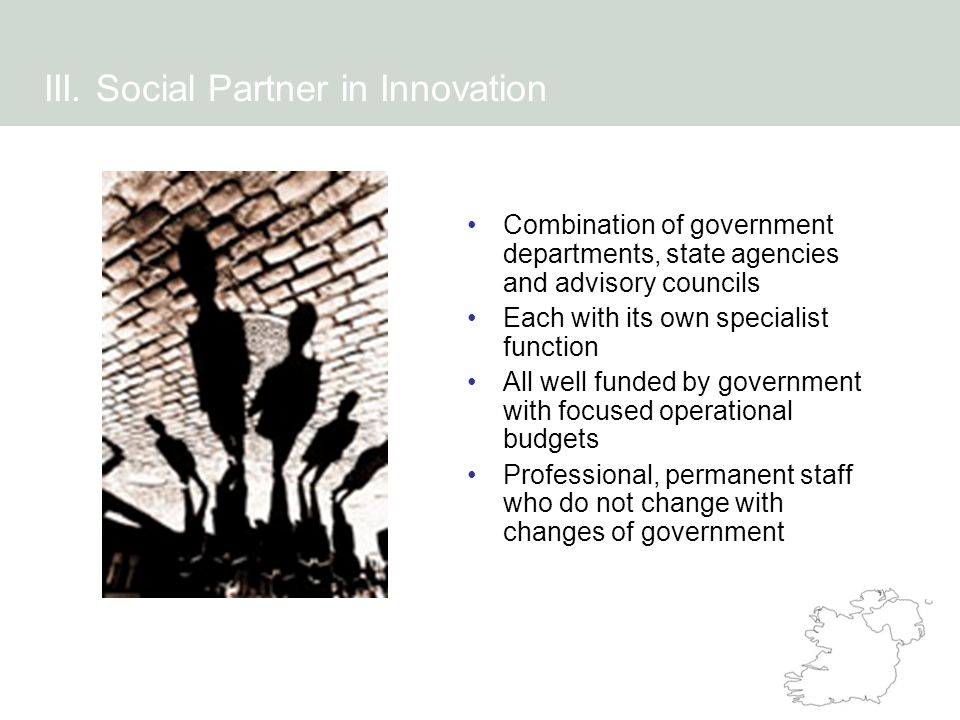 Combination of government departments, state agencies and advisory councils Each with its own specialist function All well funded by government with f