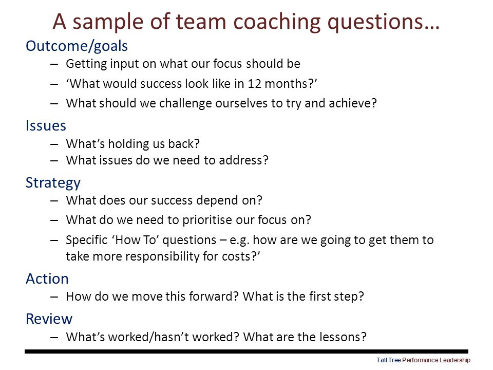 A sample of team coaching questions… Outcome/goals – Getting input on what our focus should be – 'What would success look like in 12 months?' – What s