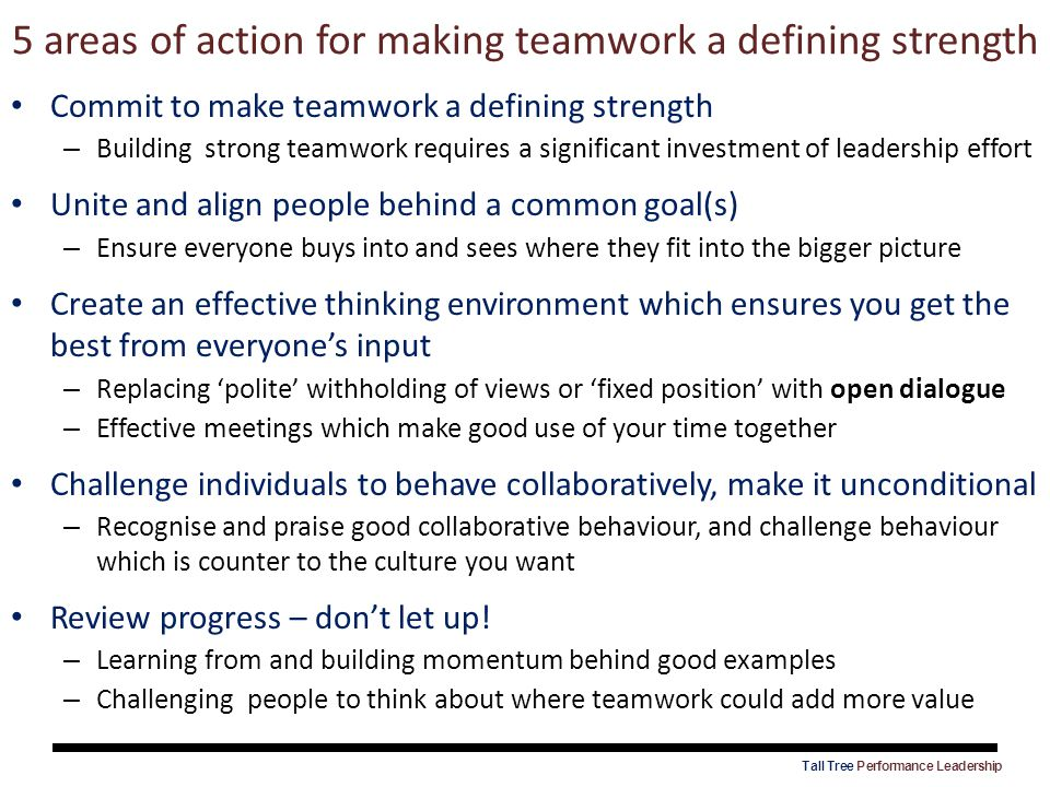 5 areas of action for making teamwork a defining strength Commit to make teamwork a defining strength – Building strong teamwork requires a significan