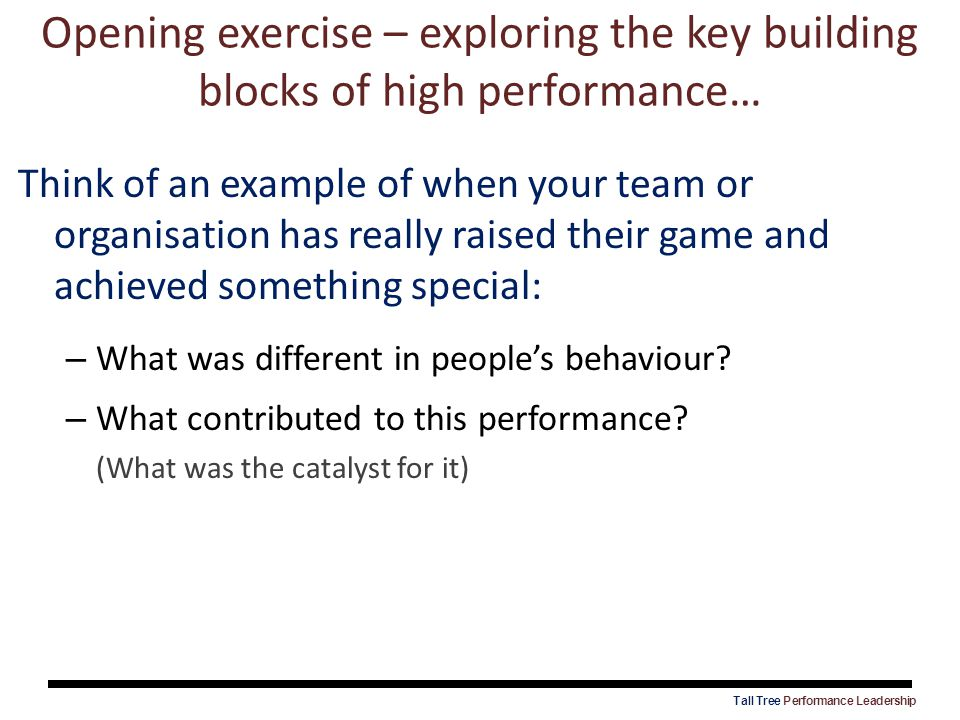 Think of an example of when your team or organisation has really raised their game and achieved something special: – What was different in people's be