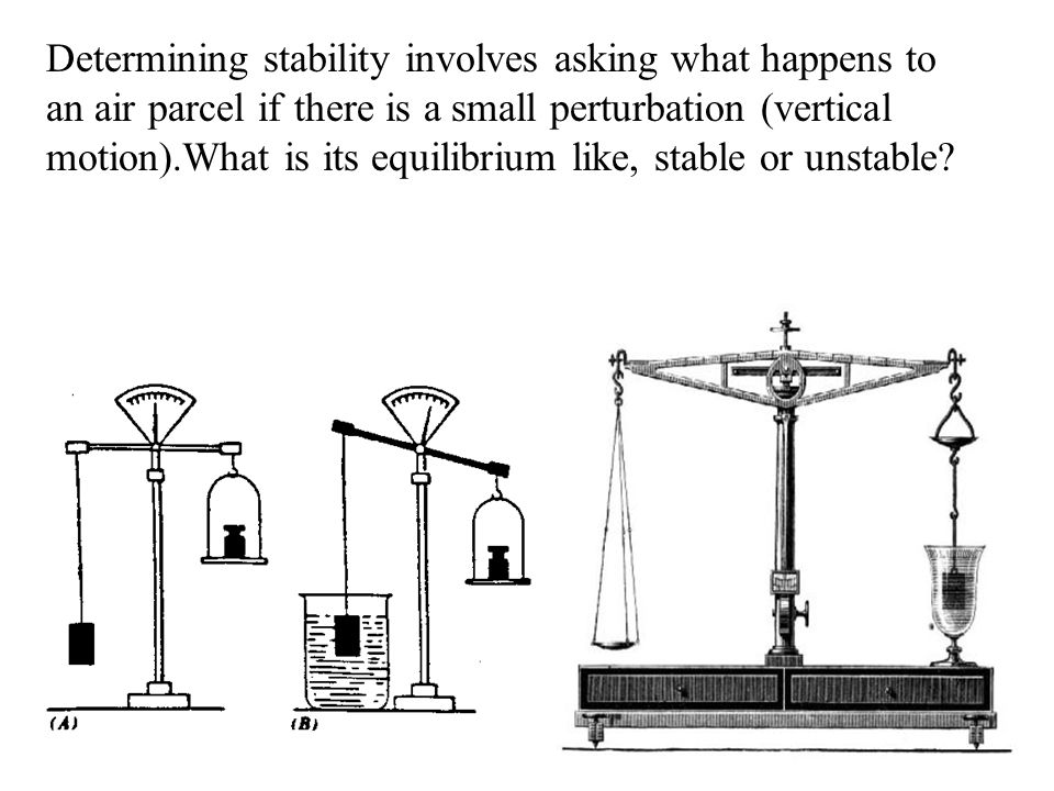 Determining stability involves asking what happens to an air parcel if there is a small perturbation (vertical motion).What is its equilibrium like, stable or unstable