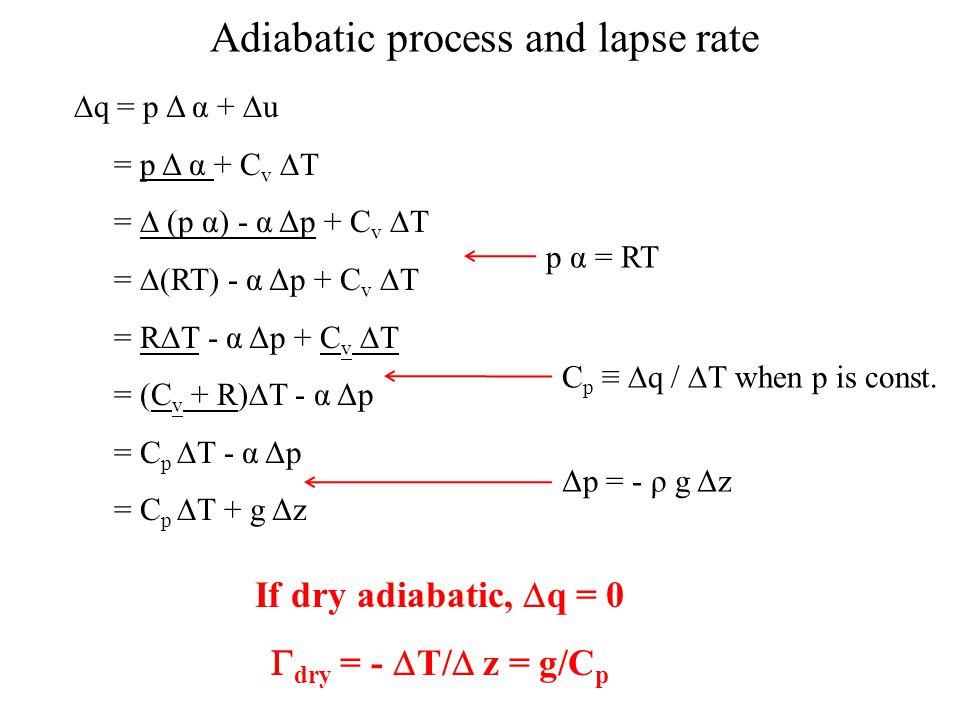  q = p Δ α +  u = p Δ α + C v  T =  (p α) - α Δp + C v  T =  (RT) - α Δp + C v  T = R  T - α Δp + C v  T = (C v + R)  T - α Δp = C p  T - α Δp = C p  T + g Δz C p ≡  q /  T when p is const.