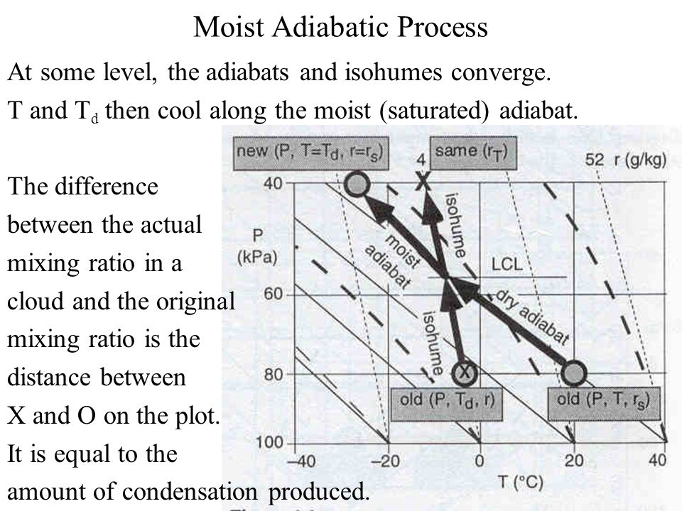 Moist Adiabatic Process At some level, the adiabats and isohumes converge.