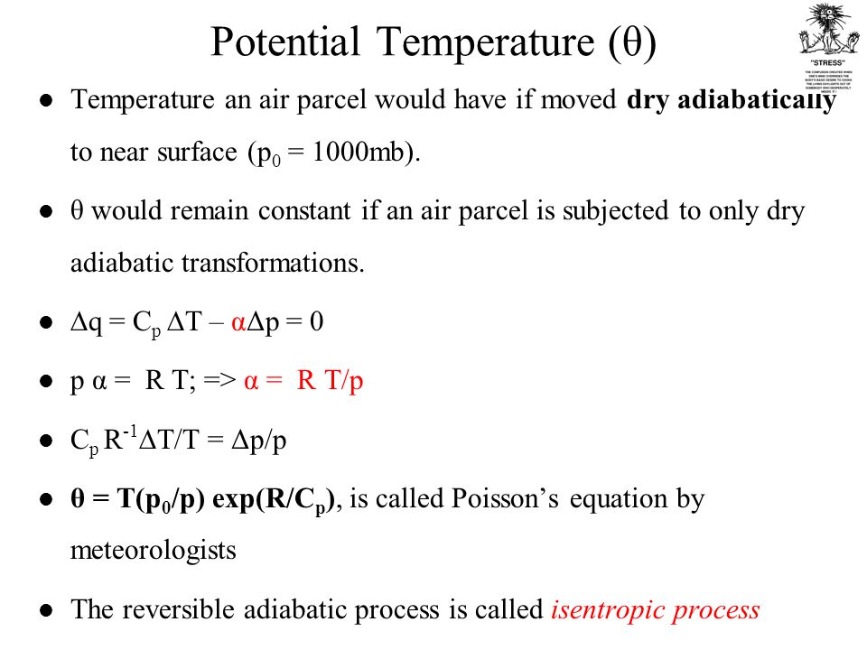 Potential Temperature (θ) Temperature an air parcel would have if moved dry adiabatically to near surface (p 0 = 1000mb).
