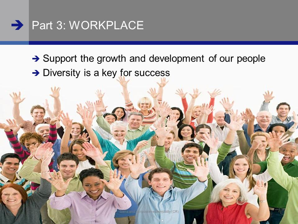  www.steria.com  Steria and corporate responsibility (CR) 27 Steria and corporate responsibility (CR) Part 3: WORKPLACE  Support the growth and dev