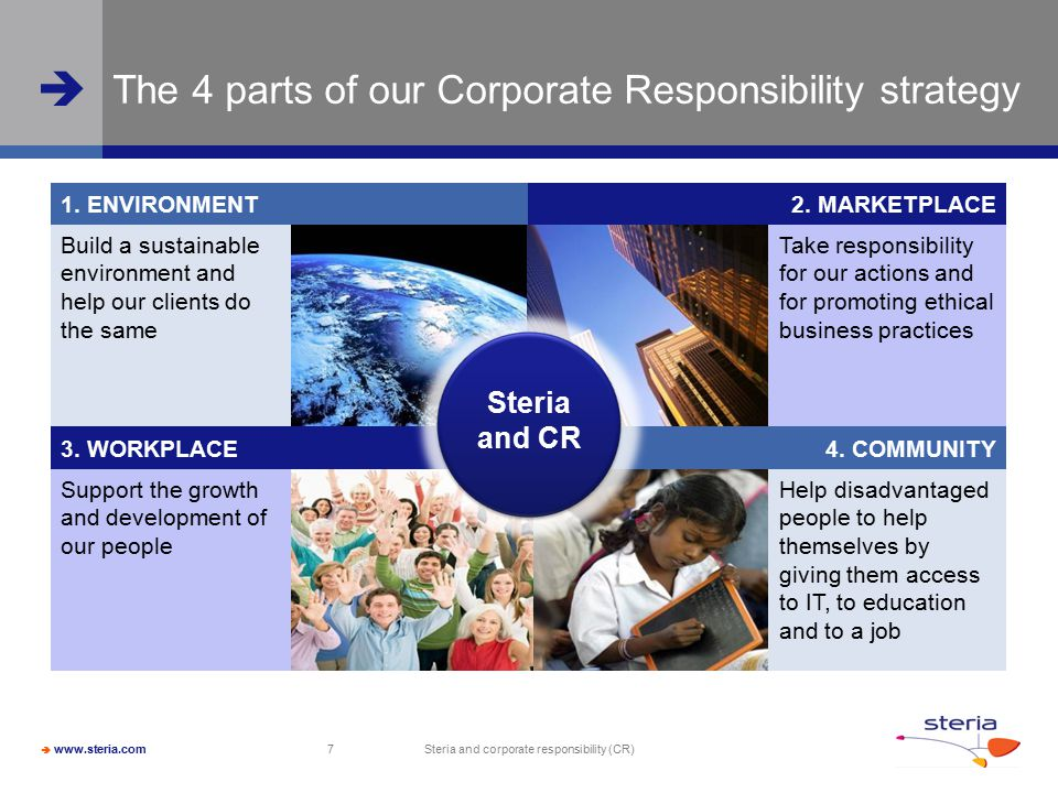  www.steria.com  Steria and corporate responsibility (CR) 7 The 4 parts of our Corporate Responsibility strategy Build a sustainable environment and help our clients do the same Take responsibility for our actions and for promoting ethical business practices 1.