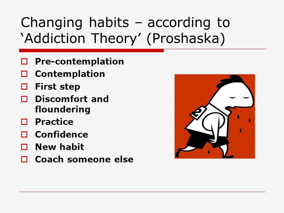 Changing habits – according to 'Addiction Theory' (Proshaska)  Pre-contemplation  Contemplation  First step  Discomfort and floundering  Practice