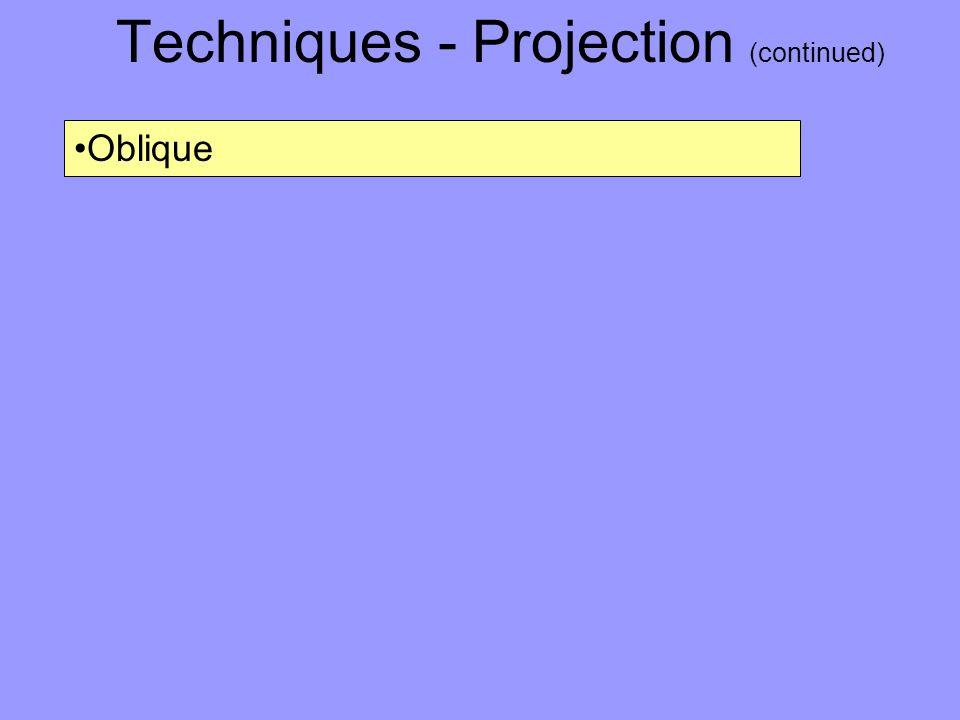 Techniques - Projection (continued) Oblique