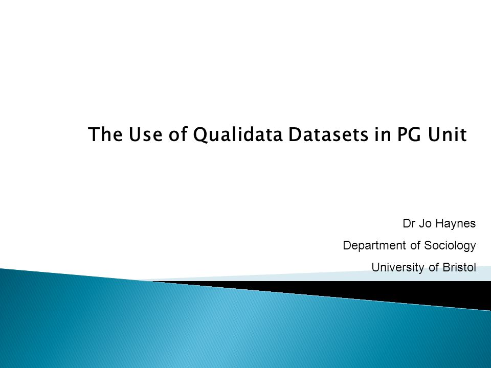  Rationale for using Qualidata archive in unit  The assessment  Problems  Benefits  Example of student approaches  Summary of strengths/weaknesses of submitted work