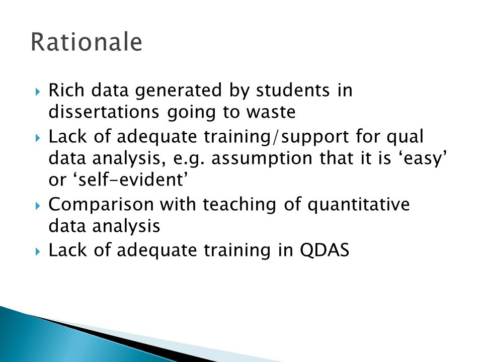  Students are constantly reminded in the course of the unit that they: ◦ Need to have a research question/issue ◦ Research question/topic needs to relate to previous studies/literature ◦ Data analysis should address research question/issue ◦ Analysis should be data driven (not simply confirmation of researcher's views)