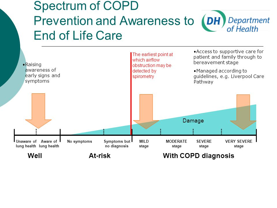 Spectrum of COPD Prevention and Awareness to End of Life Care WellAt-riskWith COPD diagnosis No symptomsSymptoms but no diagnosis MILD stage MODERATE