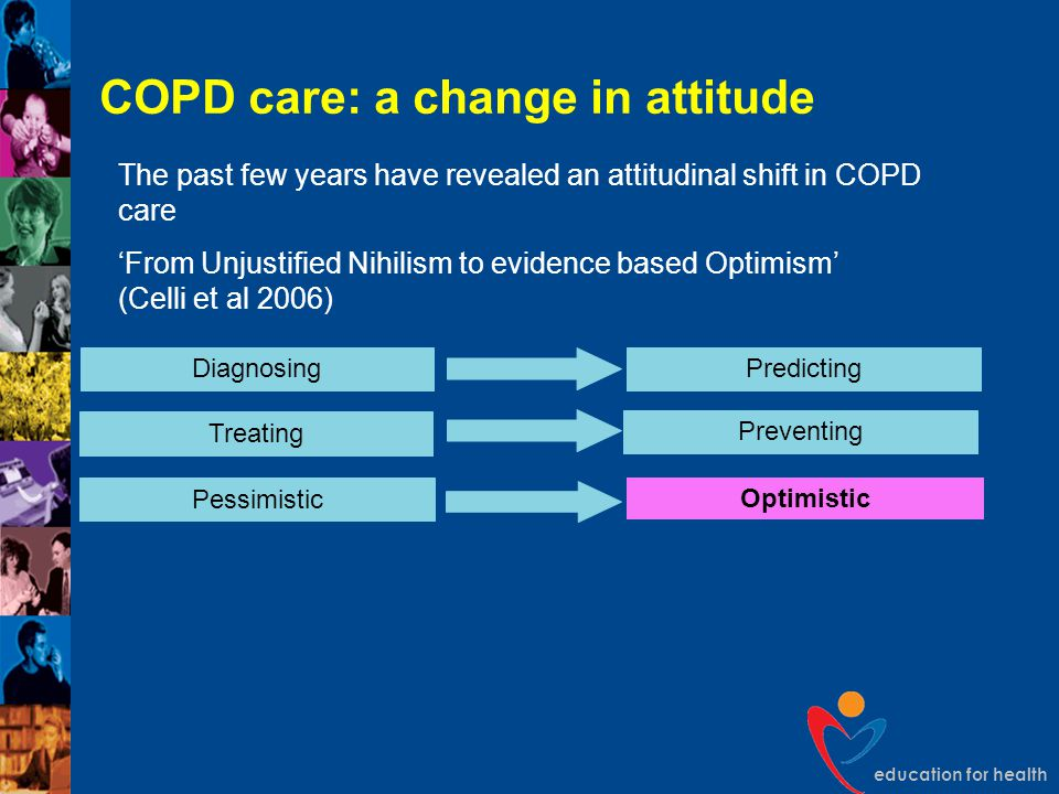 education for health COPD care: a change in attitude DiagnosingPredicting Pessimistic Optimistic Treating Preventing The past few years have revealed
