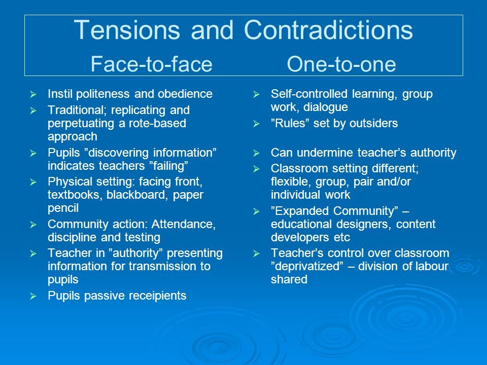 Tensions and Contradictions Face-to-face One-to-one   Self-controlled learning, group work, dialogue   Rules set by outsiders   Can undermine teacher's authority   Classroom setting different; flexible, group, pair and/or individual work   Expanded Community – educational designers, content developers etc   Teacher's control over classroom deprivatized – division of labour shared   Instil politeness and obedience   Traditional; replicating and perpetuating a rote-based approach   Pupils discovering information indicates teachers failing   Physical setting: facing front, textbooks, blackboard, paper pencil   Community action: Attendance, discipline and testing   Teacher in authority presenting information for transmission to pupils   Pupils passive receipients