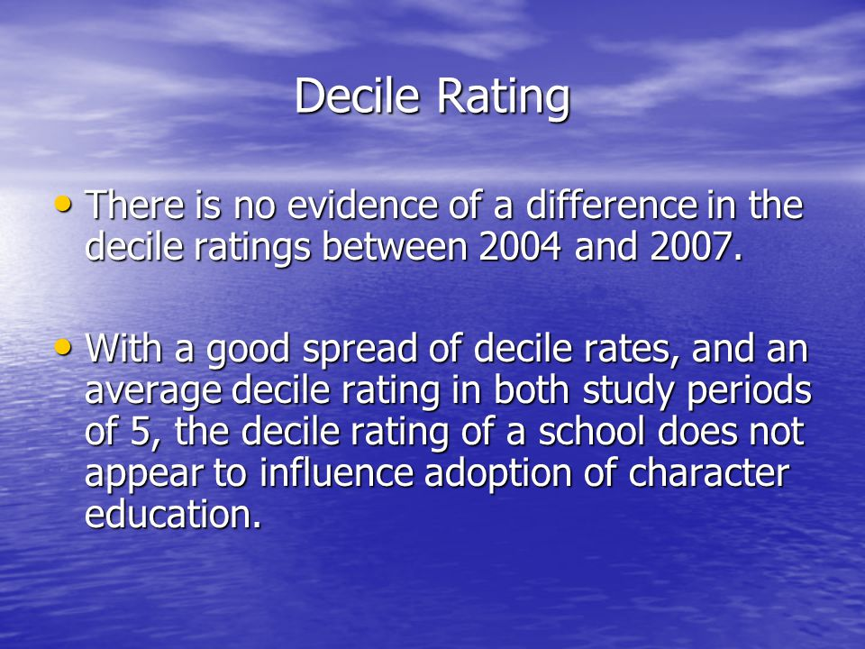 Decile Rating There is no evidence of a difference in the decile ratings between 2004 and 2007.