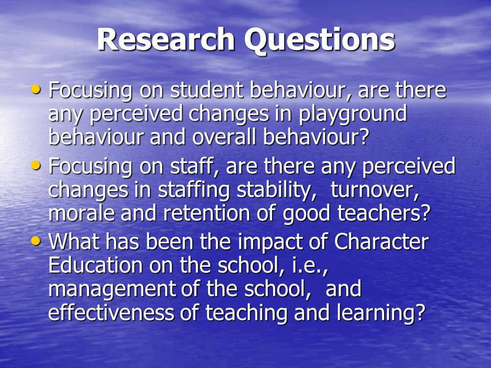 Impact on Staff Character education was seen to yield no improvements on: staff turnover, retaining good staff or impact on staff stability.