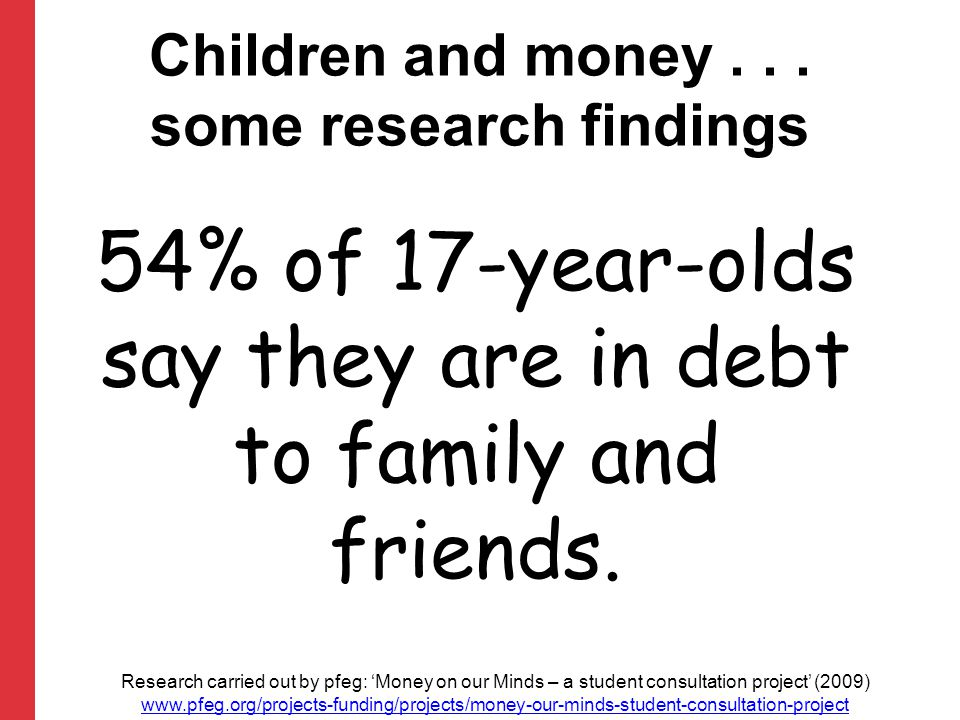 54% of 17-year-olds say they are in debt to family and friends.