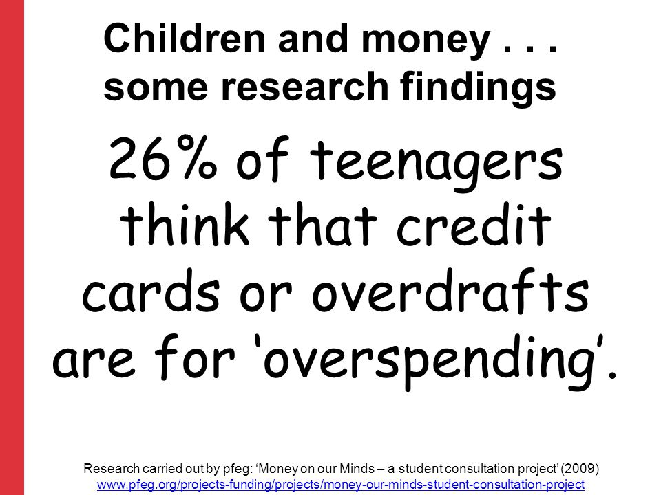 26% of teenagers think that credit cards or overdrafts are for 'overspending'.