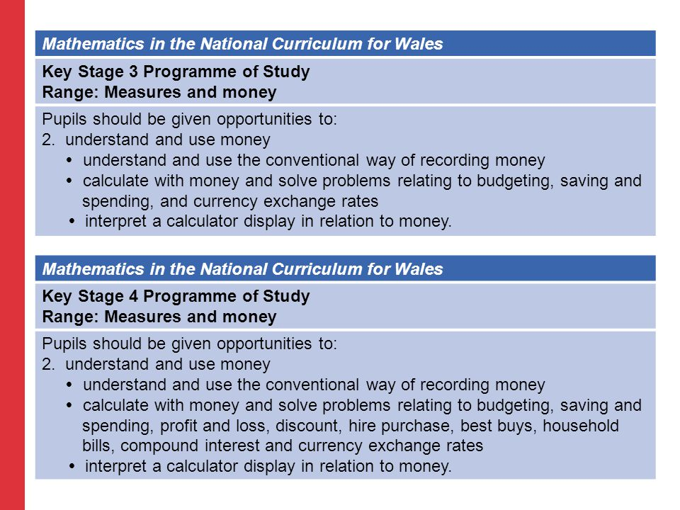 Mathematics in the National Curriculum for Wales Key Stage 3 Programme of Study Range: Measures and money Pupils should be given opportunities to: 2.