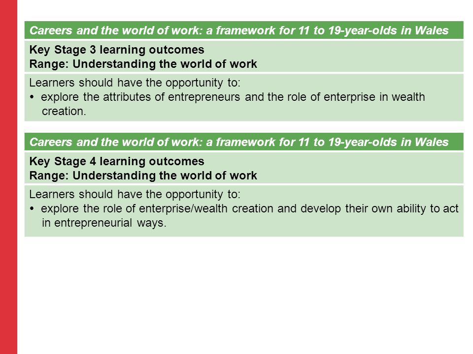 Careers and the world of work: a framework for 11 to 19-year-olds in Wales Key Stage 3 learning outcomes Range: Understanding the world of work Learners should have the opportunity to:  explore the attributes of entrepreneurs and the role of enterprise in wealth creation.