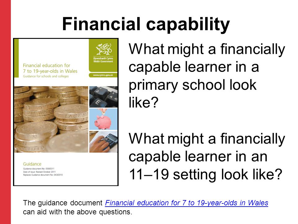 What might a financially capable learner in a primary school look like.